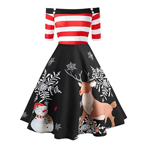 Vestido de Hombro para Mujer, Elegante, para Navidad, de Manga 3/4, Rockabilly, para Navidad, Vintage, Rockabilly, con diseño de Alce, Elegante, para Fiesta, cóctel, Fiesta, Vestido de Noche Negro M
