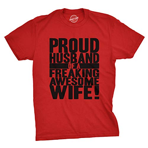 Mens Proud Husband of a Freaking Awesome Wife Funny Valentines Day T Shirt (Red) - L