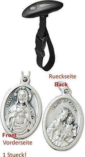 Zisaline-Kombi - Bilancia Digitale per Valigia, Fino a 40 kg, per misurare con precisione Il Peso del Bagaglio (93197771882) con Ciondolo a Forma di Cuore di Gesù, 2,5 cm