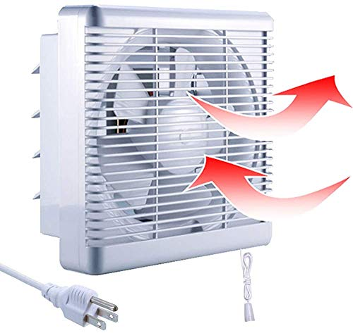 """Exhaust Fan Shutter 12 inch Reversible Airflow with Cover Pull Cord Wall Exhausting 647 CFM Mount Ventilation for Bathroom Window Garage Greenhouse Shop Vent Attic Basement 15"""" Diameter Blade White"""