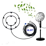 Outdoor Fan Misting System Kit 26.3FT with 8 Nozzles, Mister Fan for Outside Patio, Cool Misting Fans, Water Misting Fan for Cooling Outdoor, Backyard Misters for Fan, Water Mister for Cooling Patio