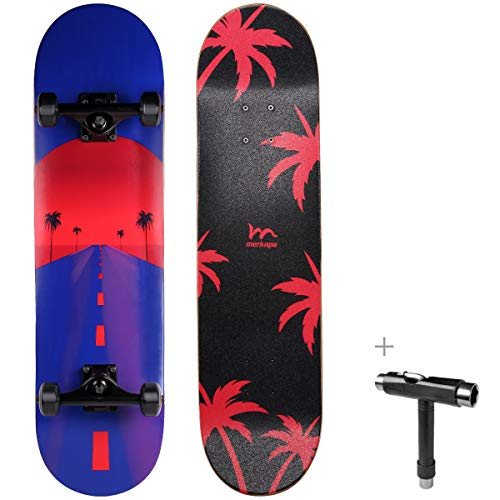 """M Merkapa 31"""" Pro Complete Skateboard 7 Layer Canadian Maple Double Kick Deck Concave Skateboards with Tool (Highway)"""