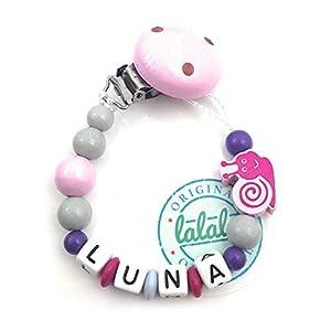 Baby Schnullerkette mit Namen, Schnecke, Rosa/Grau/Lila, Handmade Namenskette/Schnullerhalter zur Geburt, Geburtstag…