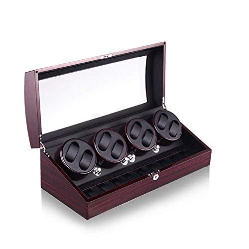 FGVBC Automatischer Uhrenbeweger 8 + 9 Aufbewahrungsboxen für 17 Uhren, L Display Box Aufbewahrungskoffer Organizer Geschenk, Schwarz und Rot