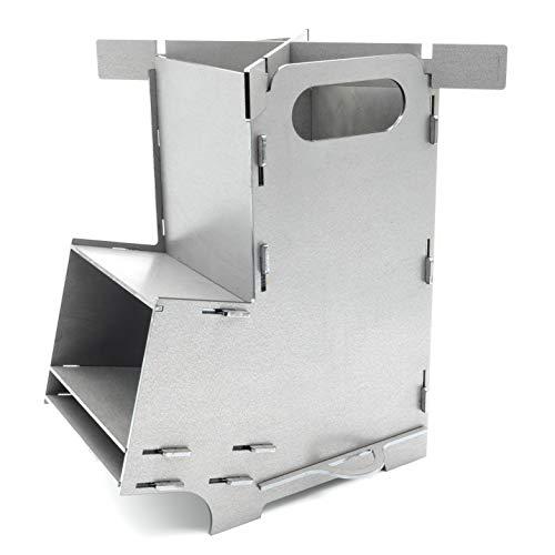 MaTaDa® Raketenofen I Rocket Stove Outdoor - Stecksystem aus massiven 3mm Stahl, für Dutch Oven, Grillpfannen und vieles mehr