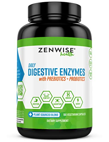 Zenwise Health Digestive Enzymes Plus Prebiotics & Probiotics Supplement, 180 Servings, Vegan Formula for Better Digestion & Lactose Absorption with Amylase & Bromelain, 2 Month Supply