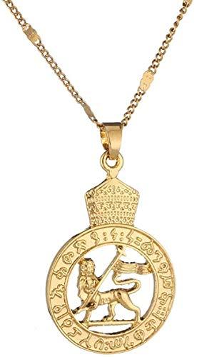 LBBYMX Co.,ltd Collar Oro Color etíope león Colgante Collar Africano Eritrea de Moda Redondo Colgante Collar de joyería