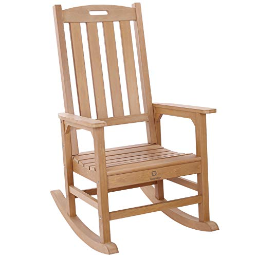 Outdoor/Indoor Rocking Chair with 350lbs Weight Capacity, OT QOMOTOP Fade-Resistant Porch Rocking Chair, Weatherproof Rocking Chair, Outdoor Rocker for Relax, 34L 27W 46.8H (Teak Color)