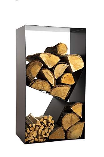 tradeNX Holzregal aus Metall – Modernes, praktisches Aufbewahrungsregal für Kaminholz – Mit drei großen Fächern in schwarzer Optik