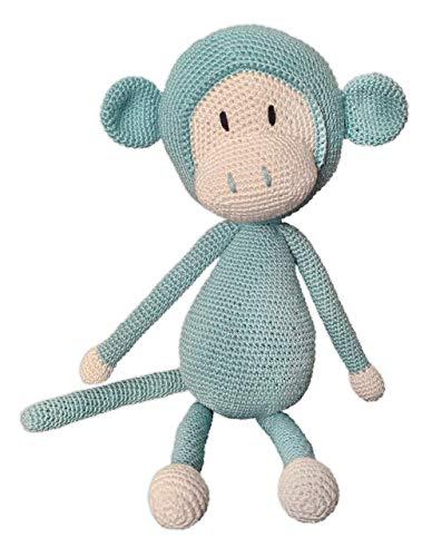 LOOP BABY gehäkelter Affe Arne in grau - gehäkeltes Kuscheltier Baby aus Baumwolle