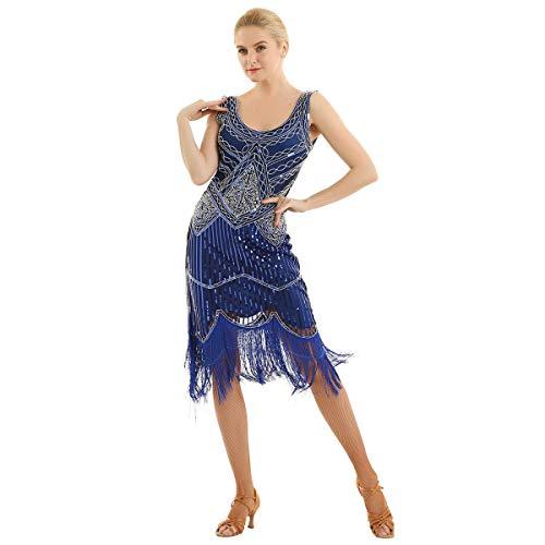 Freebily Femme Robe de Soirée Partie Musicale Rétro Robe Bal Années 20 Sequins Robe de Danse Bar Charleston Frangé Glands Robe Hanche de Cocktail sans Manches XS-XXL Bleu S