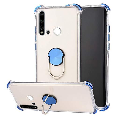 Kompatibel mit Huawei P20 Lite 2019 Hülle,Kompatibel mit Huawei P20 Lite Silikonhülle Transparent Ultradünn Weich Gel TPU Silikon Handyhülle Stoßdämpfend Schutzhülle Cover Case mit Ständer,Blau
