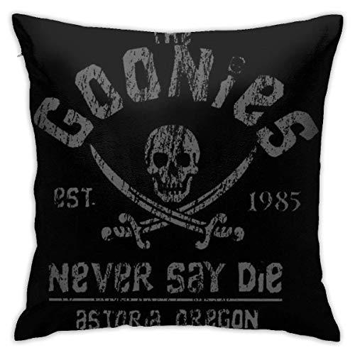Zhaoyang The Goonies - Never Say Die - Fundas de almohada decorativas gris sobre negro para sofá sofá fundas de almohada de 45 x 18 cm