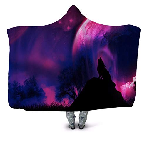 GermYan Purple Galaxy Wolf 3D Print Plush Hooded Blanket For Youth Children Warm Wearable Fleece Throw Blanket Home Office Washable 150 * 200Cm