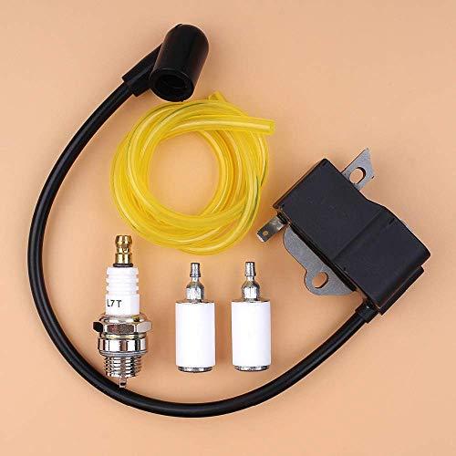 HaoYueDa Kit de línea de Filtro de Combustible de bujía de Bobina de Encendido para desbrozadora Recortadora Husqvarna 125E 125C 125L 125R 125RJ 128R 128LD 128C 128CD