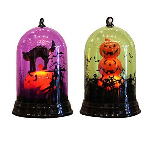 Mobestech 2 Stück Halloween Nachtlicht Hexe Lampe Cat Light mit farbveränderten Halloween Party Favors