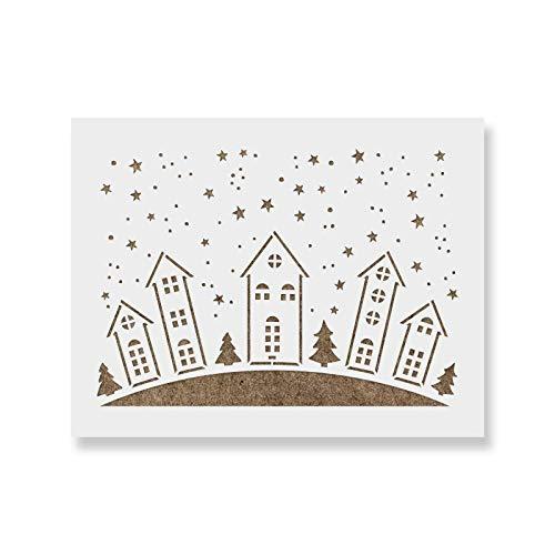 Christmas Village Stencil - Reusable Stencils for Painting - Create DIY Christmas Village Home Decor