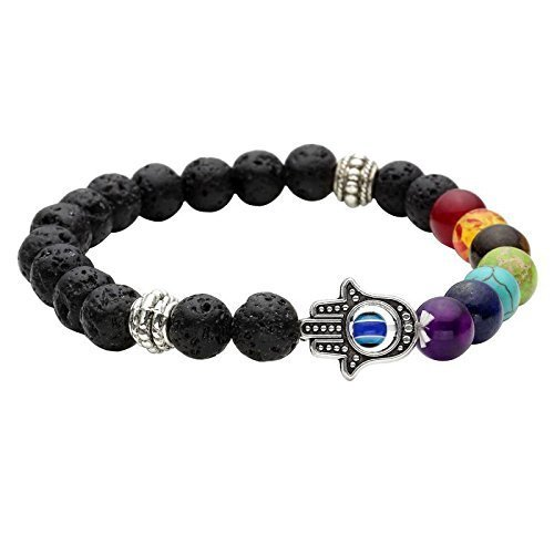 SataanReaper Presents Healing Zubehör Natursteine & 7 Chakra Reiki/Yoga Stilvolle Buddha-Korn-Armband. Modeschmuck (Hamsa Hand) #Sr-3104