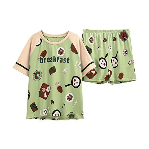 JFCDB Zomer pyjama,Nieuw Damesondergoed Lente Zomer Pyjama Groen Dames Nachtjapon Dames Nachtkleding Shorts met korte mouwen Nachtkleding, groen, M