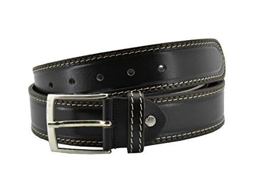 Conte Massimo Cintura da Uomo in Vero Cuoio, Accorciabile, Altezza 4cm, Con Cuciture, Casual (115/100, Marrone Scuro)