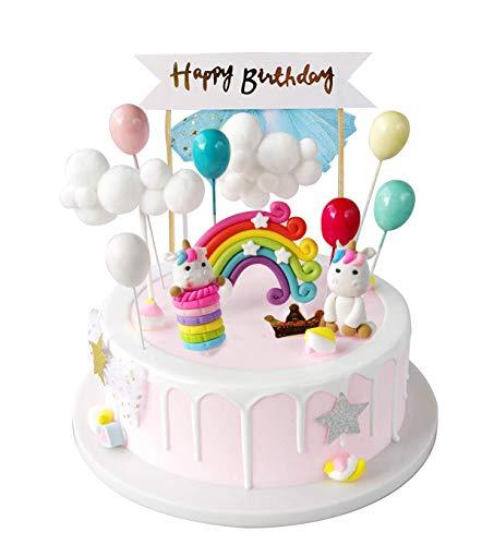 iZoeL Tortendeko Einhorn Geburtstag Kuchen Regenbogen Happy Birthday Girlande Luftballon Wolke...