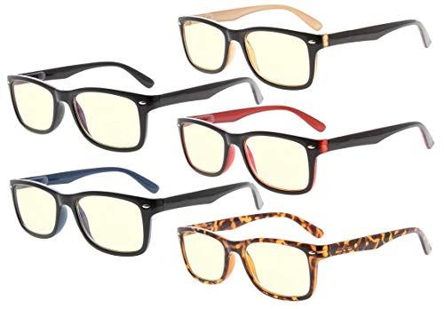 Eyekepper 5-pack computerbril, UV-bescherming, verblindingsbescherming, anti-reflecterende computerbrillen (allemaal met geel getinte glazen) +1.00 Cg075-5 stuks mixen.