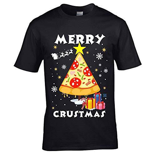 Sticker Licker Premium Grappige Pizza Joyeux Crustmas Kerstmis boom motief American Snel voedsel cadeau Kerstmis heren zwart T-shirt top
