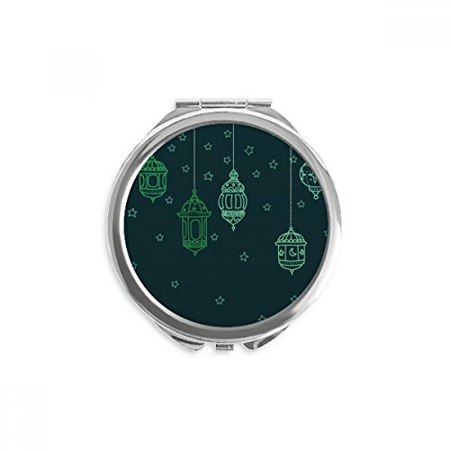 DIYthinker Laterne einfache geometrische Formen Muster Spiegel Runde bewegliche Handtasche Make-up 2.6 Zoll x 2.4 Zoll x 0.3 Zoll Mehrfarbig