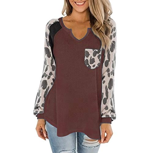 Damen Mode Beiläufig Leopardenmuster Langarm Bluse mit V-Ausschnitt