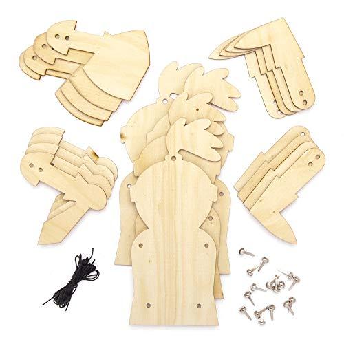 "Baker Ross Bastelsets Holzfiguren ""Ritter"", für Kinder Kunsthandwerksprojekte (4 Stück) AT699"