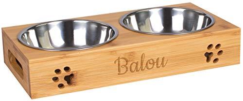 LAUBLUST Futterstation mit Name Personalisiert - Bambus, 2 Edelstahl Fressnäpfe Hund & Katze   Vol. 0,5 L - 29x14x6cm