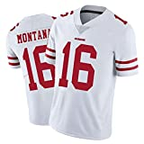 NCGD 49ers Jersey Montana16# Match Training Suit Youth 8-20 USA Rugby Jersey Player Name and Number T-Shirt pour Hommes-Red-B-S