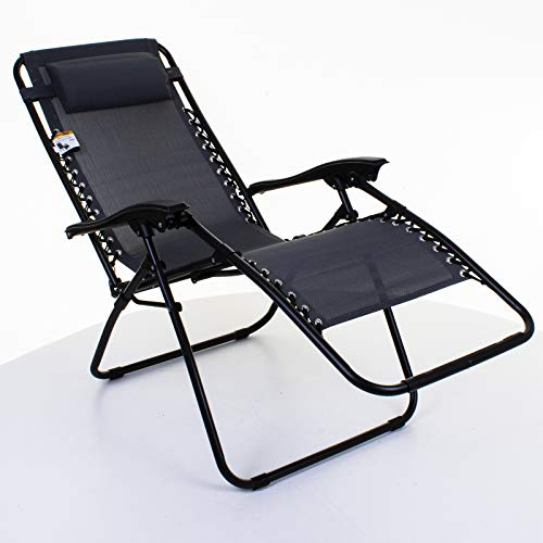 Marko Outdoor Reclining Sun Lounger Zero Gravity Folding Chair Bed Seat Patio Garden Poolside Recliner (Set of 2 Loungers - Grey)
