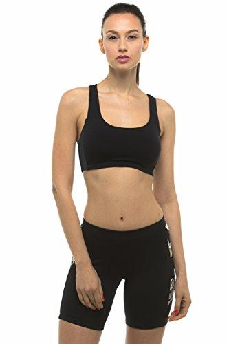 Private Island Women UPF 50+ Swim Tank Bra Short Top Sports Bras Swimsuit Rash Guard (XXXL, Black)