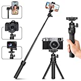 MT-34 Extendable Selfie Stick for Phone Camera, Mini Tripod Portable Vlog Selife Stick Tripod Stand for Gopro Max DJI Osmo Action Insta 360 Action Camera Accessory Kits