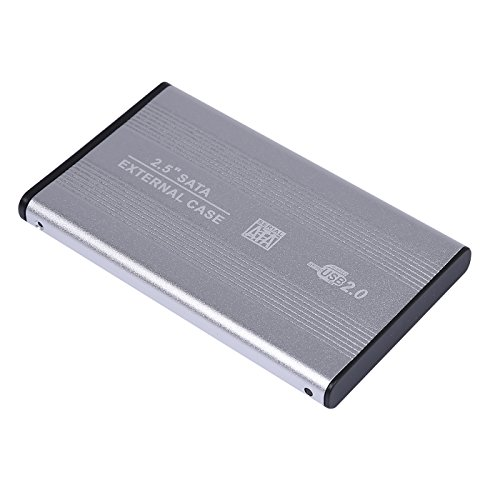 USB 2.0 External 2.5-inch SATA Aluminum HDD Enclosure Case for Laptop (Silver)