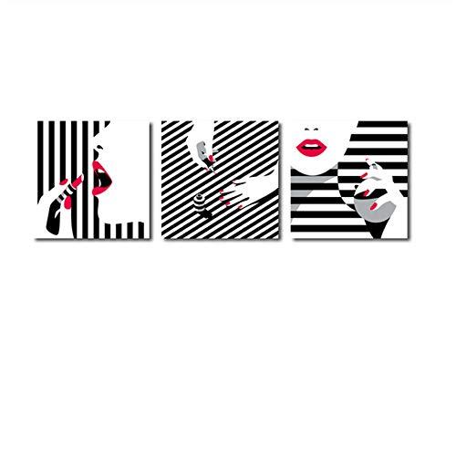 XIANGPEIFBH Drucken Leinwand Malerei Schönheit Lippenstift Roter Nagel Nordic Poster Wandbilder für Wohnzimmer Home Framework Dekoration Poster 30x30cm (11,8