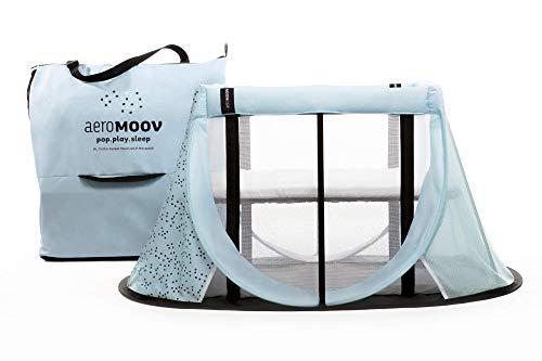 Cuna de Viaje para bebé plegable e instantánea con colchón configurable a dos alturas y bolsa de transporte (color Azul Océano, Edición Limitada)