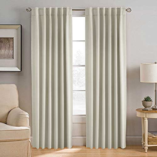 H.VERSAILTEX Blackout Curtains Thermal Insulated Window Treatment Panels Room Darkening Blackout Drapes for Living Room Back Tab/Rod Pocket Bedroom Draperies, 52 x 96 Inch, Cream, 2 Panels