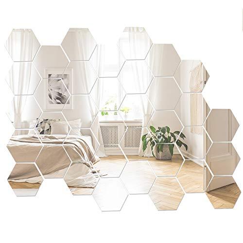 upain 36 Piezas Pegatinas Pared Espejo de Acrílico Hexagonales Decorativas Adhesivos Espejo de Pared para Hogar Sala de Estar Dormitorio
