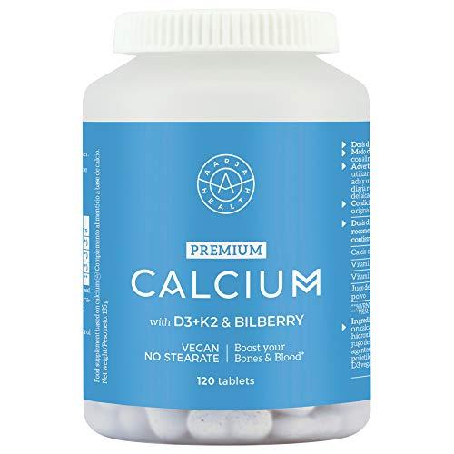Calcio Puro Aquamin (500mg) con Vitamina D3 (2000 IU) Y Vitamina K2 - Se Absorbe 4 Veces Mas que otros calcio - 120 Tabletas Veganas – Sin Estearato