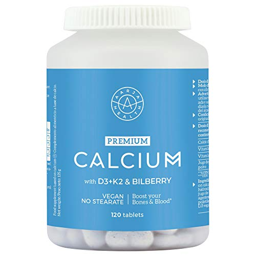 Aarja Health Vegan Aquamin Calcium, Vitamin D3, K2 – Supports Immune System – Blood & Bone Health – 120 High Strength Tablets with Arctic Bilberry