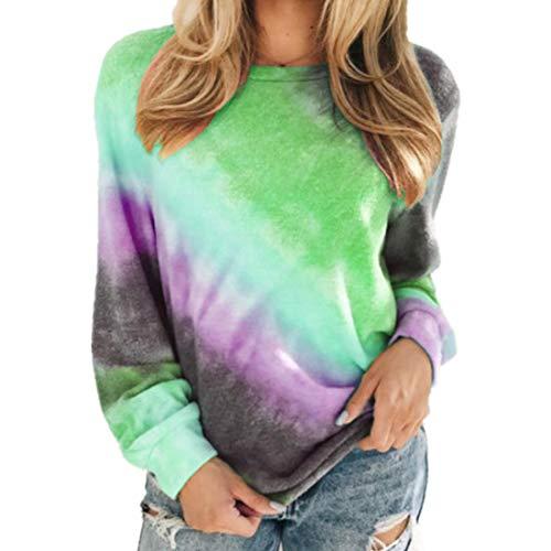 Damen Rundhals T-Shirt Farbblock Langarm Locker und bequem Pullover Sweatshirt Frühling und Herbst Neu Winter Bottoming Shirt Freizeit Mode Bequemer Wandern Streetwear All-Match 3XL