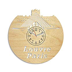 Louvre Museum Paris Wooden Wall Clock Decorations For Living Room Modern Gift Idea For Man And Woman Minimalist Wall Clock Louvre Paris Wall Decals Birthday Gift Louvre Paris Art (Yellow)