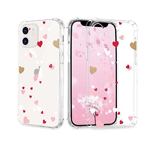 Cover per iPhone 12 Pro Max, da donna e ragazza, trasparente, con motivo a cuore, in TPU, antiurto e antigraffio