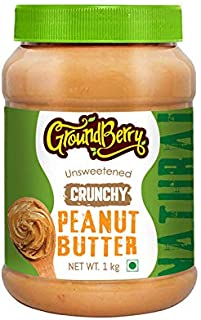 Groundberry All Natural Crunchy Peanut Butter Unsweetened, Non-GMO, Gluten Free, Vegan 1 kg Pack (GB1)