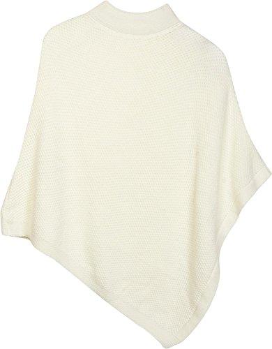 styleBREAKER Strick Poncho mit Strukturstrick und Rollkragen, abgesetzter Saum, Strickponcho, Grobstrick, Damen 08010039, Farbe:Weiß