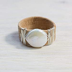 Breiter Kork-Ring mit flacher großer Süßwasser-Perle und 925 Sterling Silber/in allen Größen/sorgfältigste Handarbeit…