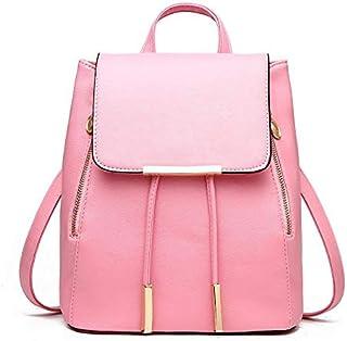 Girls Pink Preppy Style School Bag PU Leather Backpack Ladies Rucksack