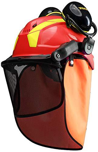 Uvex Pheos Forstschutzhelm - mit Gehörschutz, Visier & Nackenschutz - Rot